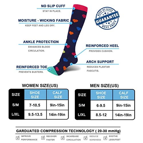 Circulation Pregnancy Flight Travel 3 Pairs Best Graduated Athletic Fit for Running 20-25mmHg Nurses Sabarry Compression Socks for Women and Men Recovery