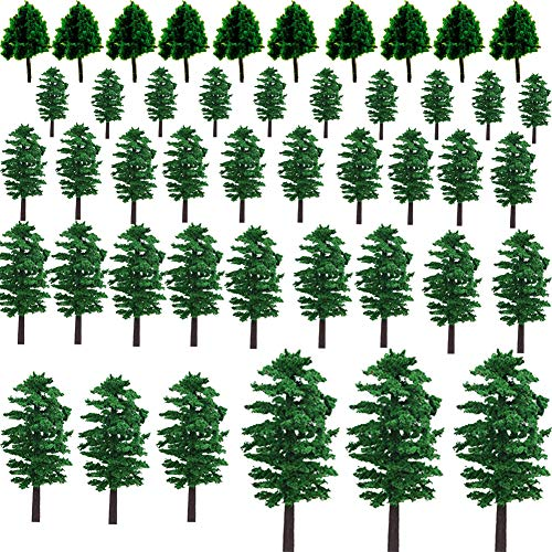 NW 55pcs 1.57inch-3.54inch Mixed Model Trees Model Train Scenery Architecture Trees Model Scenery with No Stands Street View Model Scale for Model Building Dollhouse Decoration
