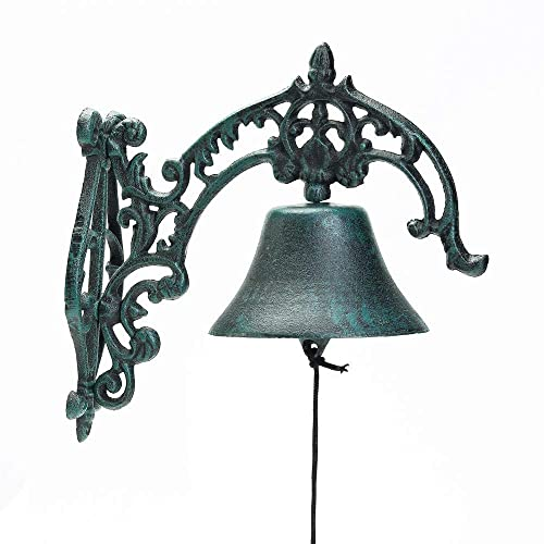 Sungmor Heavy Duty Cast Iron Wall Bell Rustic Style Aristocratic Logo Manually Shaking Wall Hanging Doorbell