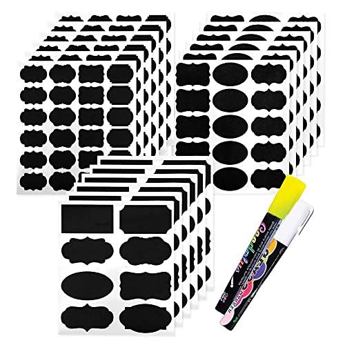HEALLILY 120pcs Chalkboard Labels Pantry Storage Stickers Waterproof Blackboard Vinyl Stickers for Jars Spice Glass Bottles Containers Canisters