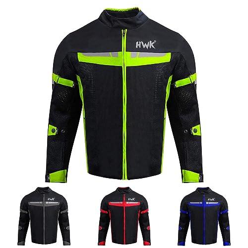 X-Large, Green HWK Mesh Motorcycle Jacket Riding Air Motorbike Jacket Biker CE Armored Breathable