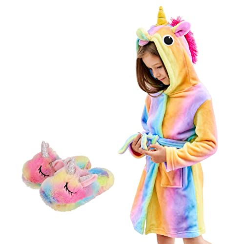 HulovoX Unicorn Hooded Bathrobe with Slippers Unicorn Gifts for Girls