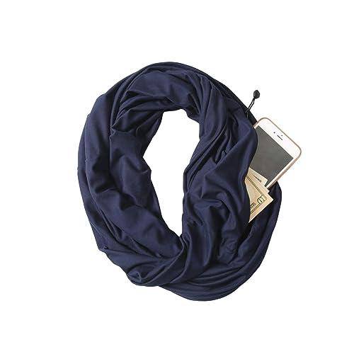Best Travel Scarfs JOKHOO Infinity Scarf Wrap with Secret Hidden Zipper Pocket