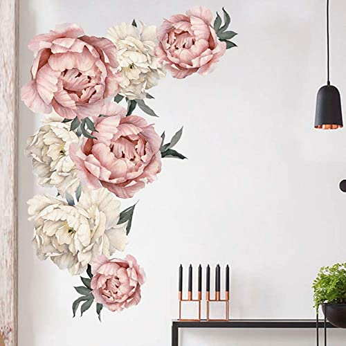 LWZME Flower Wall Sticker PVC Romantic Pink Peony Floral Wall Decal Peony Rose Stick Wall for Sofa Background Girls Living Room Bedroom Nursery Decor