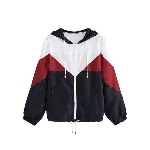 Milumia Womens Color Block Drawstring Hooded Zip Up Sports Jacket Windproof Windbreaker X-Large Pink