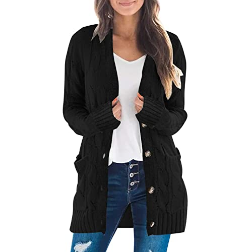 Womens Long Sleeve Twist Knit Cardigans Button Down Cable Sweater Coat Patch Pockets
