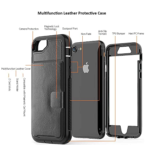 ZERMU PU Leather Shockproof Leather Back Cover Flip Wallet with Card Slot iPhone 6s Case iPhone 7 Case,iPhone 6 Case Compatible with Magnetic car Mount for iPhone 8//7//6//6S 4.7 iPhone 8 Case