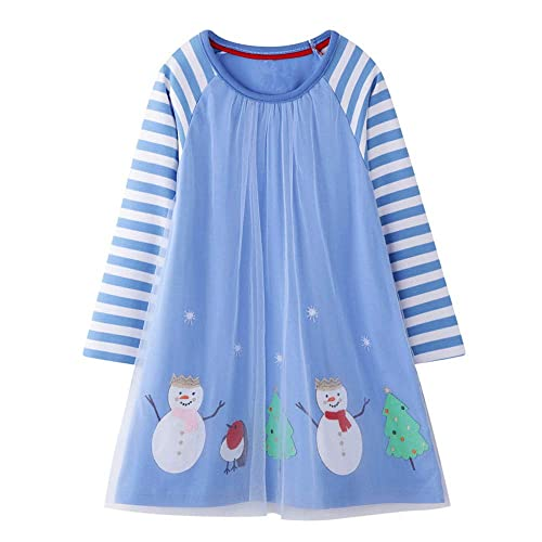 HILEELANG Girl Dress Long Sleeve Casual Cotton Tulle Tutu Christmas Birthday Party Playwear Basic Tunic Shirt Dresses