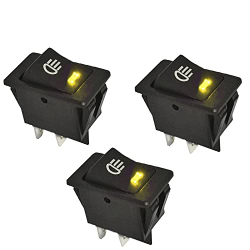 ESUPPORT Car Yellow Cover Yellow LED Light Rokcer Toggle Switch SPST ON Off Pack of 5