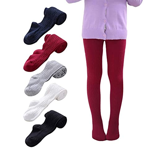 Ehdching 3 Pack Baby Little Girls Children Cable Knit Cotton Tights Leggings Stocking Pants