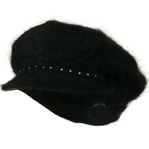 SS//Sophia Rhinestones Angora Newsboy Hat
