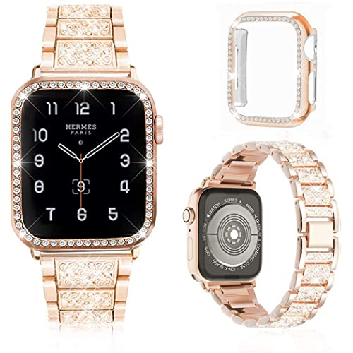 Buy Meyicoo Compatible For Apple Watch Band 38mm 40mm 42mm 44mm With Rhinestone Protective Cover Women Jewelry Bling Diamond Metal Strap Soft Pc Bumper Protective Case For Iwatch Series 5 4 3 2 1 Rose