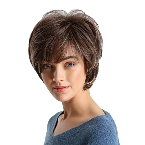 OneUstar Womens Green Wig with Bangs14 Inches Should Length Bob Wigs Synthetic Full Wig for Cosplay Party Fancy Dress