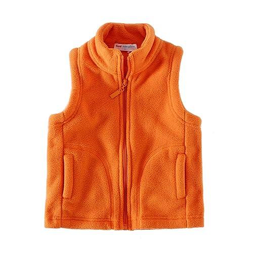 LittleSpring Little Boy Fleece Vests Zipper Solid Sky Blue 6//7