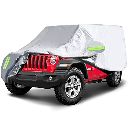 185L x 75W x 71H ELUTO Car Cover Jeep Wrangler Cover 4 Door Waterproof All Weather Upgrades Jeep Covers Waterproof Protection Outdoor Car Cover with 2 Gust Straps Fits up to 185