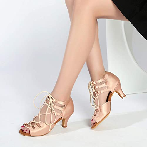 JZNXdanza Ballroom Dance Shoes Womens Performance Latin Salsa Dancing Shoes Middle Heels with 2.4 inch Heels Z06