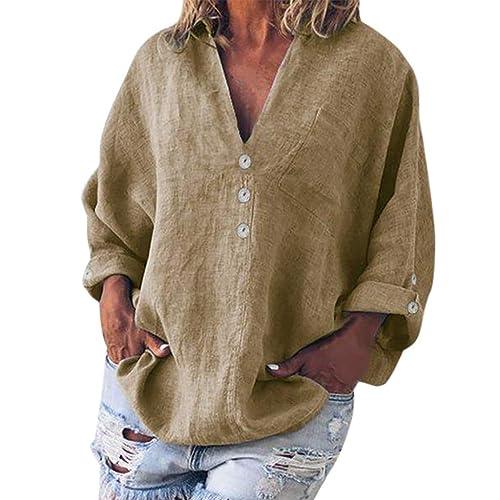 Franterd Women Casual Linen Blouse Solid Plus Size V-Neck Button Tunic Tops T Shirt More Colors 8 Size S-5XL