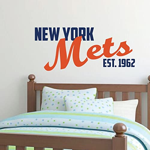 Buy New York Mets Wall Decor Baseball Decorations Sports Team Athlete Bedroom Decor Vinyl Wall Decal Mlb Wall Decals For Bedrooms Playroom Dorm Or Home Mancave Wall Decor