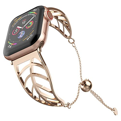 Bracelet Replacement For Apple Watch Band 38mm 40mm Uoomoo Rosegold Elegant Cuff Jewelry Strap Wristbands Compatible With Iwatch Series 1 2 3 4 Unique Fancy Style For Women Girls Buy Products Online