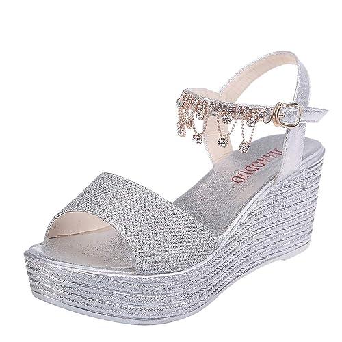 Hemlock Women Fashion Sequin Wedge Sandals Pear Belt Buckle Sandals Thick Platform Sandals Party Dress Sandals Shoes