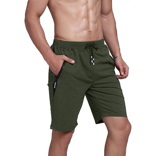 Donhobo Mens Summer Sports Shorts Cotton Jogging Training Fitness Shorts with Zip Pockets