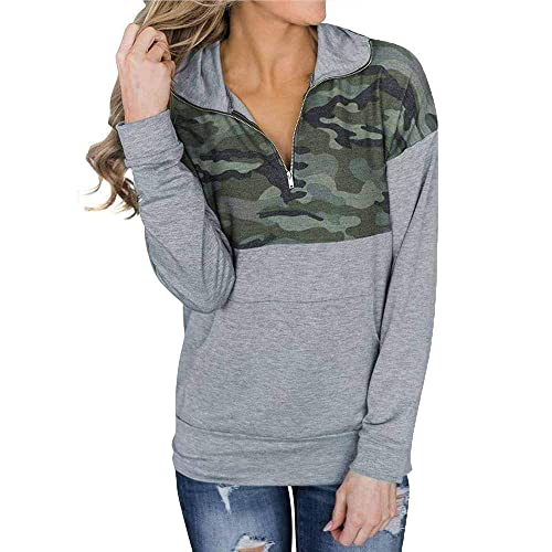 Women 1//4 Zip Pullover Camouflage Sweatshirt Color Block Shirts Casual Long Sleeve Blouse Top