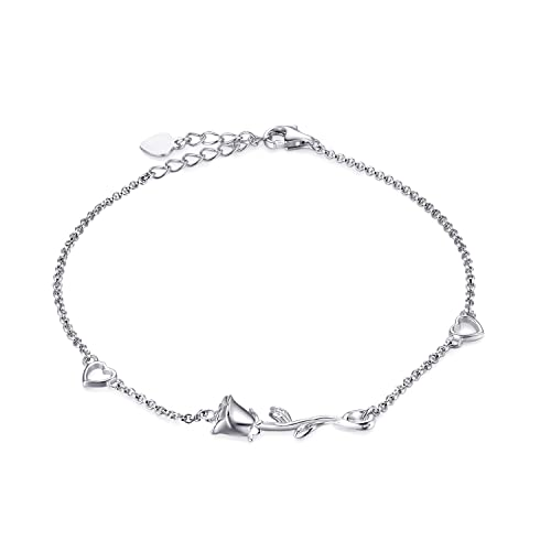 Birthday Rose Flower 925 Sterling Silver Cute Fashion Jewelry Anklet For Women Girls Gifts