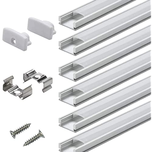 Justech 6PCs 1M//3.3ft LED Aluminum Channel Aluminum Profile with Complete Mounting Accessories for LED Strip Lights-Silver