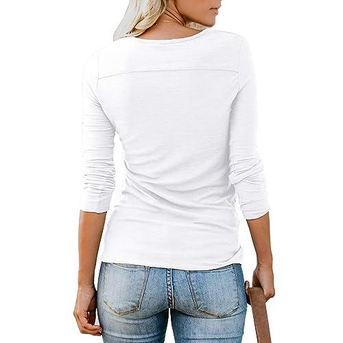 ANIXAY Womens Short//Long Sleeve Henley Button up T Shirt Casual Basic Tops Blouse