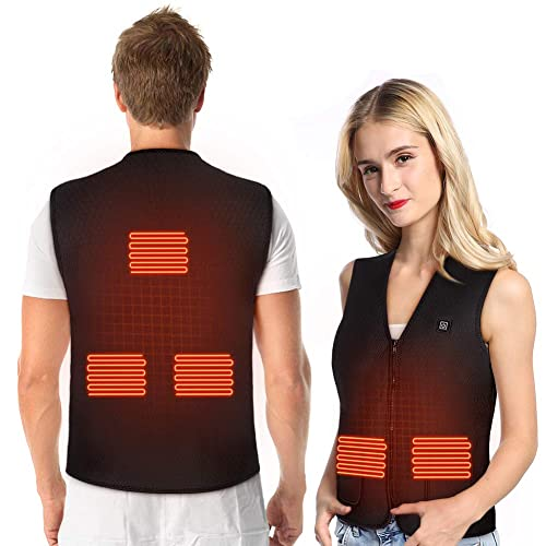 Heated Vest Heated Jacket Clothes Lightweight Washable Heating Clothes Gilet With 3 Heat Temperature Control for Outdoor Activities USB Charging Heating Vest with 5 Heated Pad