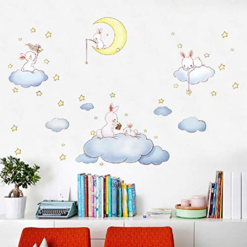 Buy Cartoon Animals White Clouds Rabbit Wall Decals Decor Stickers Large Gifts For Kids Teen Girls Boys Rooms Bedroom Nursery Bedding Online In Bahrain B07whrt9zw