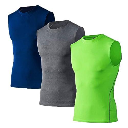 LANBAOSI Mens 3 Packs Sports Compression Sleeveless Cool Dry Under Baselayer Shirt Tank Tops