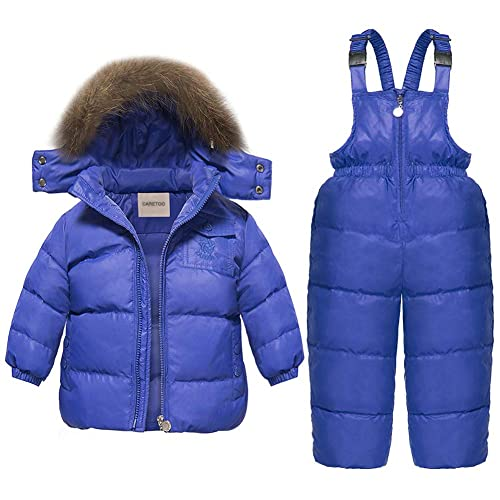 Feidoog Winter Baby Boy Girl Fleece Lined Romper Hooded Puffer Jacket Snowsuit with Gloves