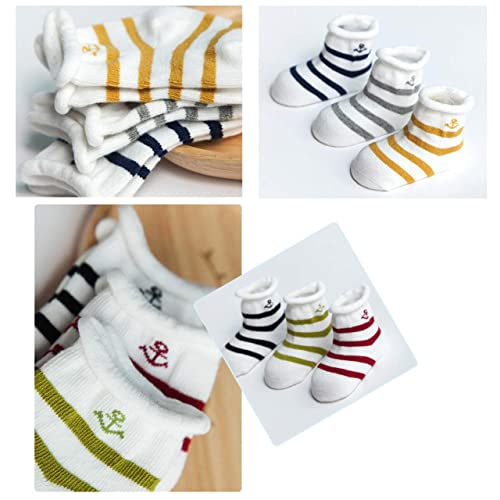 3 Pairs Baby Cotton Socks Set Infants Toddler Kids Slubby Yarn Breathable Mesh Stocking Lovely Colourful Splicing Pure color 0-3 Years for Newborn Boy//Girl