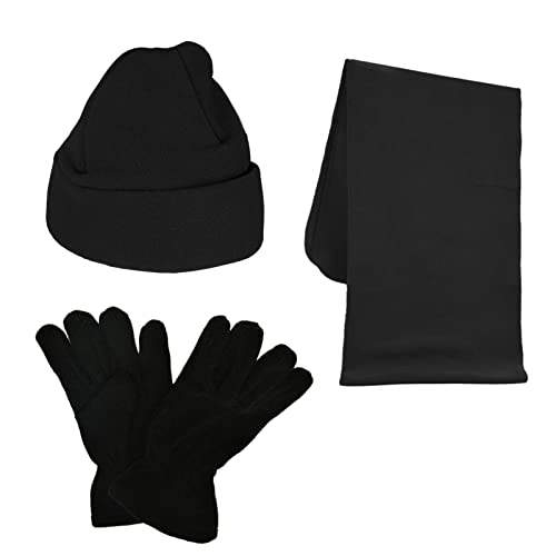 Matching Set Unisex Girls or Boys Scarf and Gloves Set Ideal for Winter Kids Hat 3 Pieces 100/% Polyester Soft and Warm Micro Fleece Material