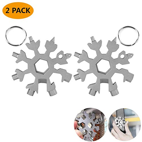 18-in-1 Snowflake Multi-Tool Stainless Steel Snowflake Keychain Tool,Snowflake Screwdriver Tactical Tool for Opener Key chain//Bottle Opener//Outdoor EDC Tools//Christmas Gift