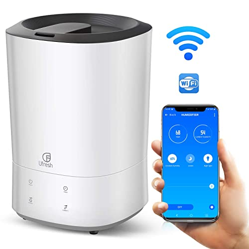 Top Fill Essential Oil Vaporizer for Large Bedroom Babies UFRESH Smart Humidifier 5.5L Ultrasonic Cool Mist Humidifier Night Light Automatic Shut-Off App Remote Control Ultra quiet