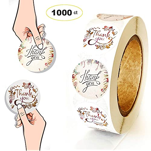 Canning /& Online Sales Boxes 1.5 Inch 8 Different Design Round Floral Strong Adhesive Thank You Labels Adhesive for Bags 1200PCS Thank You Stickers Roll