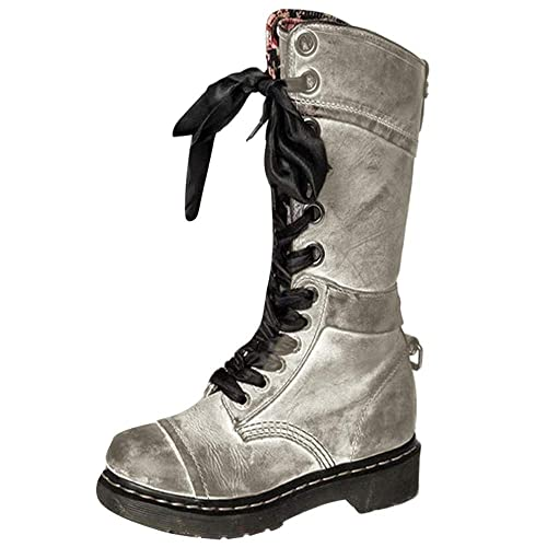 Hunzed Womens Retro Shoes Studded Vintage Lace-Up Girls Boots