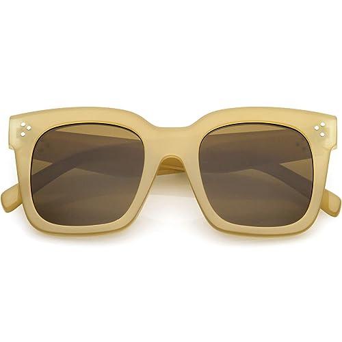 Buy zeroUV - Retro Oversized Square Sunglasses for Women with Flat ...