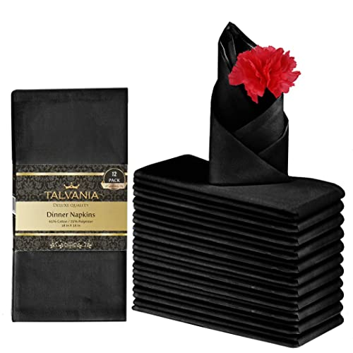 """Talvania Cloth Dinner Napkins Perfect for Events Hotel /& Home Use 12 Pack Luxuriously Soft /& Hotel Quality Cotton Napkins Chocolate 18/"""" X 18/"""" Brilliant Fabric Napkins"""