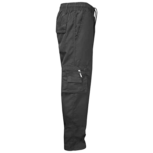 MyShoeStore Mens Fleece Lined Thermal Bottoms Elasticated Waist Trousers Casual Cargo Combat Pants Bottom Multi Pockets Warm Winter Work Gym Walking Thick Jog Jogging Joggers