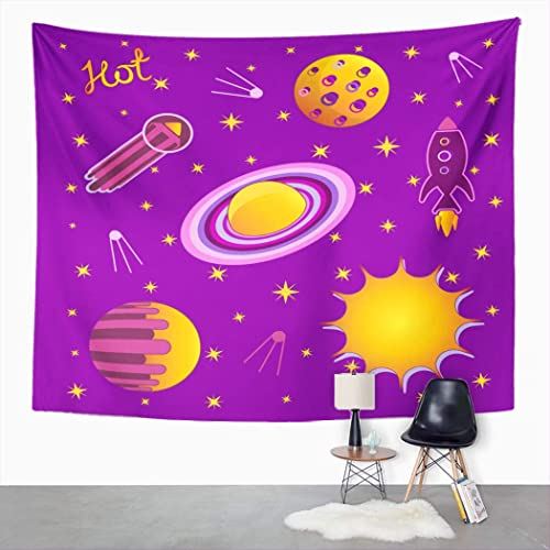 Buy Peyqigo Wall Hanging Tapestry Set Stickers Space Objects Cartoon Astronaut Astronomy Atlas Board Game Bright Polyester Living Room Dorm Decoration Picnic Mat Beach Towel Home Decor 60 X 80 Inches Online