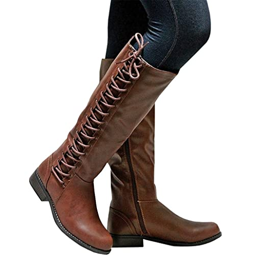 Syktkmx Womens Quilted Winter Knee High Boots Motorcycle Riding Chunky Flat Low Heel Boots