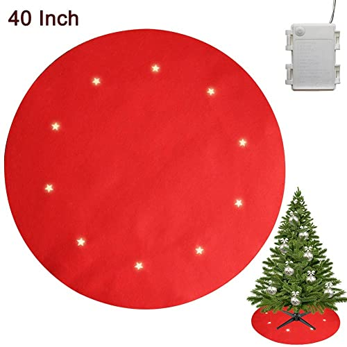 Buy Juegoal Reversible Christmas Tree Stand Mat With 10 Led Star Lights Battery Operated 8 Lighting Modes Christmas Tree Floor Protector 40 Inches Light Up Xmas Tree Pad Holiday Party Decorations Red