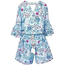 cb8d171d9027 Big Girls Floral Printed Tier Ruffle Sleeves Romper (Many Options) with  Pockets