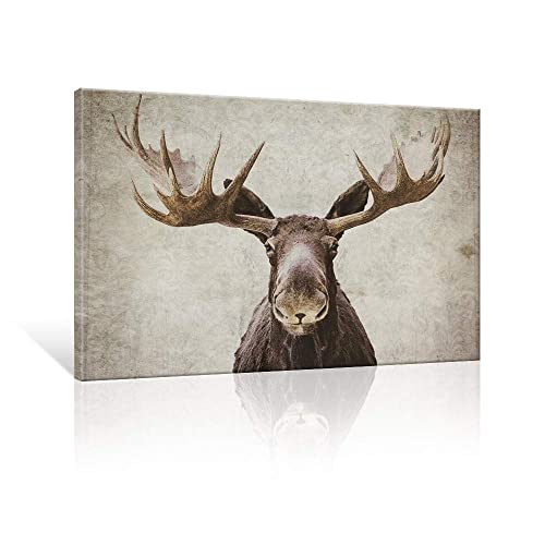 Buy Seven Wall Arts Elmer The Moose By Pi Creative Art Modern Wildlife Canvas Print Animal Moose Wall Pictures Vintage Giclee Print On Canvas Stretched Living Room Bedroom 24 X 36 Inch