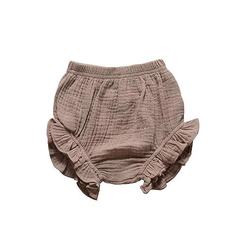 AYIYO Toddler Baby Girls Kids Cotton Linen Ruffle Bloomer Shorts Diaper Cover