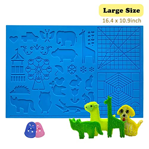 3D Pens Drawing Tools with 2 Finger Protectors for 3D Beginners//Kids//Adults 3D Pen Mat Sunhokey Large 3D Printing Pen Silicone Design Mat 16.4 x 10.9 Inches with Patterns