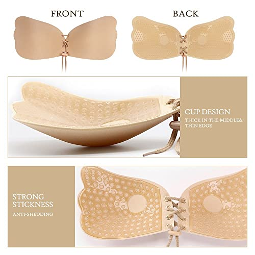 Desirelove Self Adhesive Bra 2 Pack Strapless Backless Reusable Invisible Stick Push-up Silicone Bras